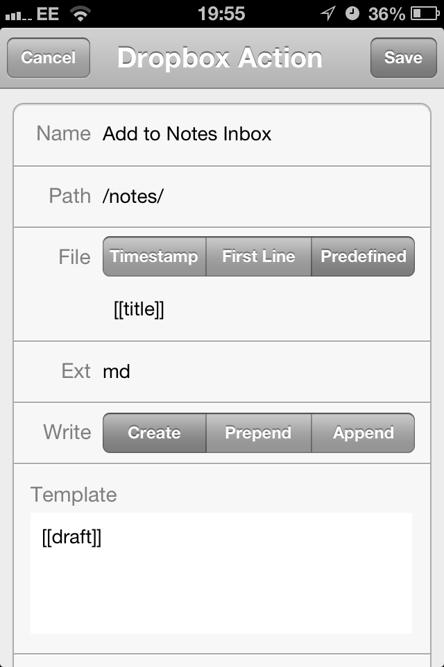 Drafts to Notes Inbox Action